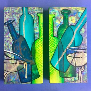 Idealism of Green Bottles diptych
